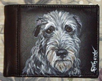 Scottish Deerhound Dog Custom Hand Painted Leather Men's wallet