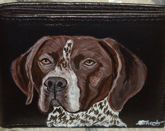Pointer Dog Custom hand Painted Leather Men's Wallet