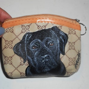 Japanese Chin Dog Hand Painted Coin clutch Purse Mini wallet vegan