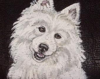American Eskimo Dog Custom Hand Painted Leather Men's Wallet