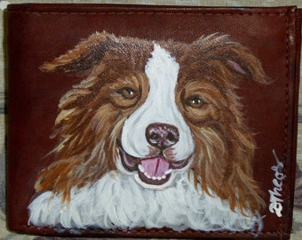 Border Collie Dog Painted Leather Men's Wallet Gifts for Men