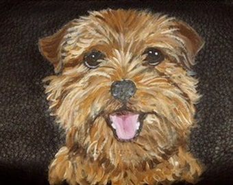 Norfolk Terrier Dog Custom Painted Leather Men's Wallet Gift for men Bifold Trifold