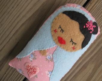 tiny sweet embroidered folk art rag doll PINK