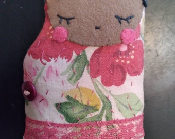 Prim upcycled art rag doll tiny folk art Matilde slow stitch ornament