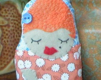 tiny sweet embroidered folk art doll ornament