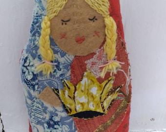 Saint Corona embroidered art doll slow stitch folk art