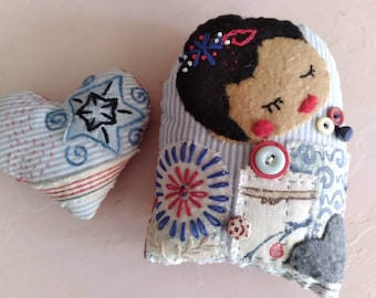 Art Doll and Heart embroidered Folk Art red blue