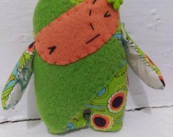 Tiny sweet green folk art rag doll MOD