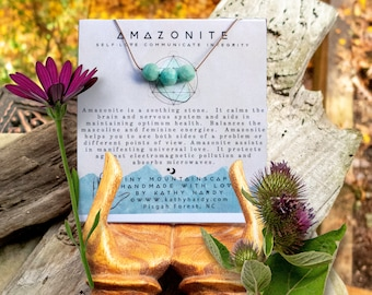 Amazonite Healing Stones | Tiny Mountainscape Necklace | Minimalist Jewelry | Earthy | Organic | Natural Stone Lover | Necklace Under 30