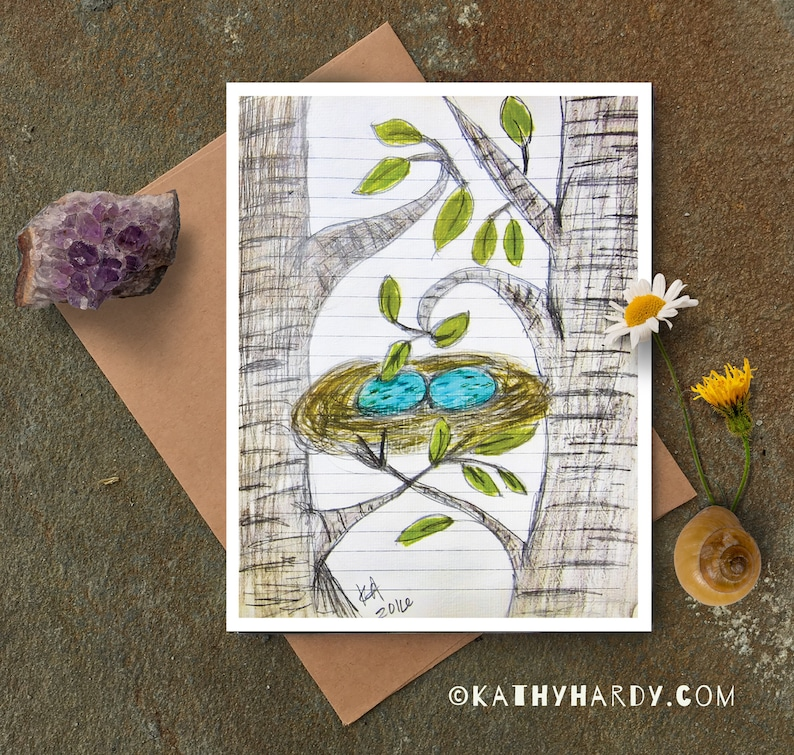 Blank Notecard Two Eggs In Nest Card Just Because Card Cute Greeting Card Unique Greeting Card Original Drawing by Kathy Hardy