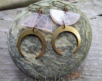 Strawberry Moon Earrings | Bronze Crescent Moons | Strawberry Quartz Moons  | Nature Lover Jewelry l Moon Lover Jewelry | Earrings Under 35