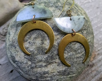 Phases of the Moon Earrings | Bronze Crescent Moons | Labradorite Moons  | Nature Lover Jewelry l Moon Lover Jewelry | Earrings Under 35