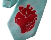 hand painted silk anatomical heart tie
