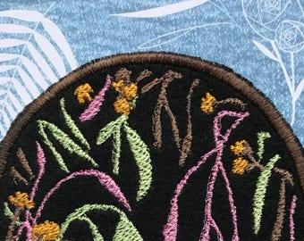 midnight garden art patch   abeadles   iron on plant patch   jacket patch   flower patch