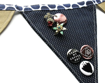 Cute polka dot pin banner. Cute idea for your pin display! Banner jewelry display.