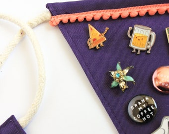Pin banner single! Enamel pin display. Purple jewelry hanging display. Cute gifts for her under 10. Cute way to display your pin collection.