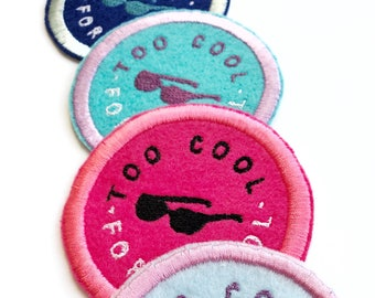 Too Cool For Drool Patch. Diaper bag patch. New mom iron on patch. Funny new mom gift. Cool mom iron on patch. Mothers Day gift for new mom