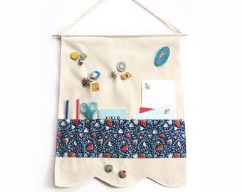 Pin Banner Organizer. Enamel pin display with pockets. Cute banner decor. Khaki banner with pockets. Pin game collection!