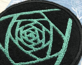 midnight rose art patch | abeadles | iron on flower patch | patch game | patch collector | black rose | cool patches