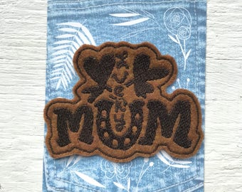 Lucky Mum patch. Iron on patch for moms. Diaper bag accessories. New mom gift ideas. Expecting mom ideas. Punk mom patch. Clover mom patch.