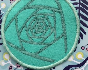 teal rose art patch | abeadles | iron on flower patch | patch game | patch collector | blue rose | cool patches