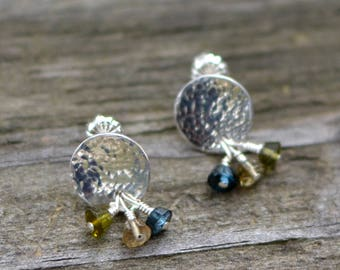 hammered tourmaline small stud earrings - tourmaline and sterling silver
