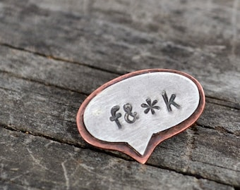 profanity brooch or tie tack - sterling silver and copper