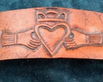 Celtic Leather Bracelet, Extra Small, Claddagh on Medium Brown