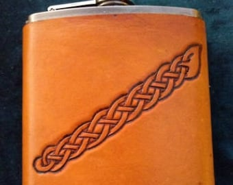 Celtic Leather Whiskey Flask Border from Cross on Isle of Man