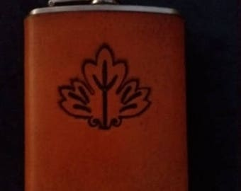 Celtic Leather Whiskey Flask Leaf from British Tile Pattern