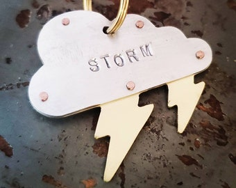 Cloud with lightning bolt pet tag