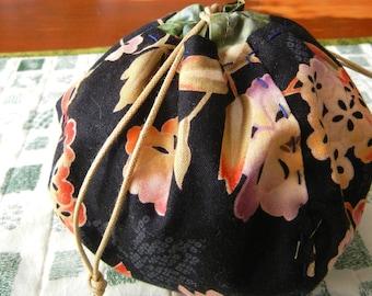 Ball shape Drawstrings bag - Japanese flowers in black