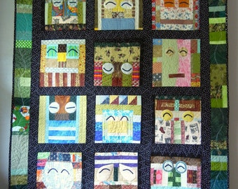 Smiley Monster Quilt  - 47x60 - Throw size