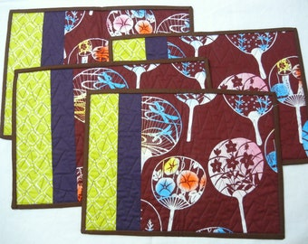 Quilted placemats - Fan - set of 4