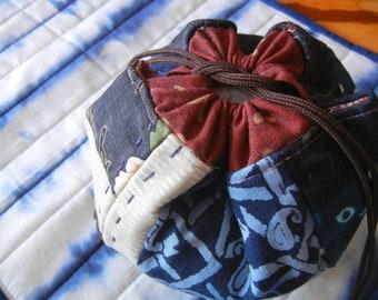 Ball shape Drawstrings bag - Japanese patchwork