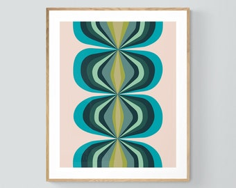 Blue Print, Abstract Print, Retro Print, Blue Ballroom #2, Abstract Art, Mid Century Modern Design, Boho Print, Retro Art, Geometric Art