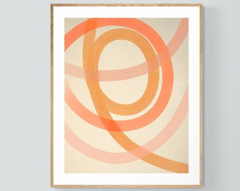 Abstract Print, Modern Art, Mid Century Design, Minimal Art, Coral Lines , Oversized Wall Decor, Alicia Bock, Abstract Painting, Pink Print