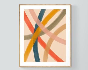 Abstract Print, Modern Art, Mid Century Design, Minimal Art, Lido Lines #2 , Oversized Wall Decor, Alicia Bock, Abstract Painting