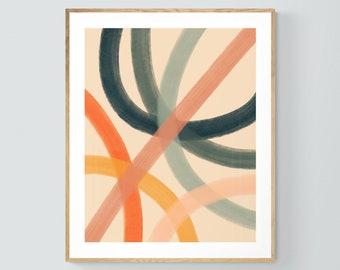 Abstract Print, Modern Art, Mid Century Design, Minimal Art, Lido Lines #1 , Oversized Wall Decor, Alicia Bock, Abstract Painting, Boho Art