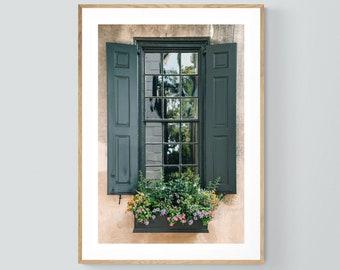 Charleston Art, South Carolina Print, Charleston Window Box #2, Charleston Photograph, Architecture Photo, Oversized Art, Alicia Bock