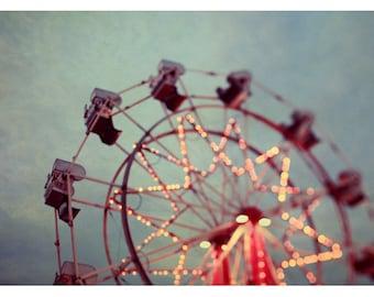 Photography - Ferris Wheel Photograph - Carnival - Fair Art - Summer Photograph - Starry Night - Fine Art Photograph - Oversized Art Print