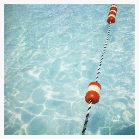 Polaroid Photograph, Swimming Pool Print, Summer Art, Ropes, Fine Art  Photograph, Polaroid Art, Vintage Pool Art Print, Oversized Home Decor