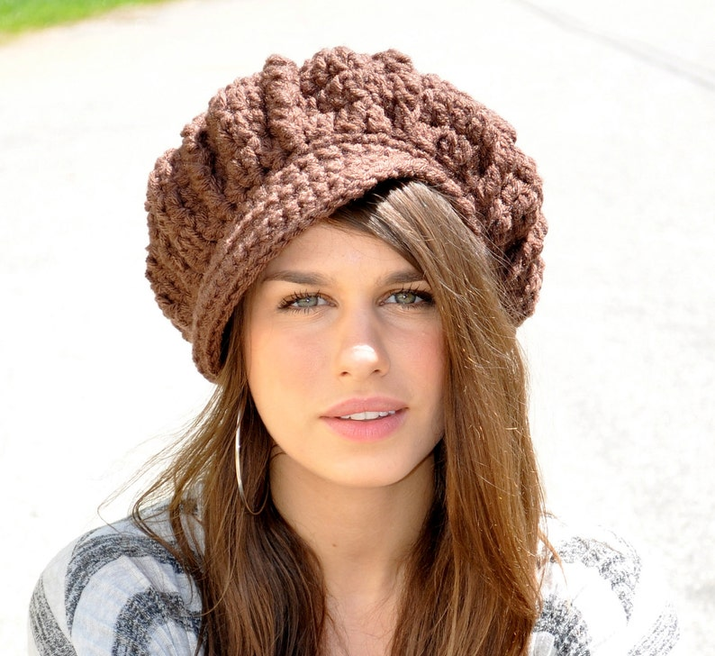 372ea8a5a59 Brown Newsboy Hat Women s Winter Accessories Chocolate