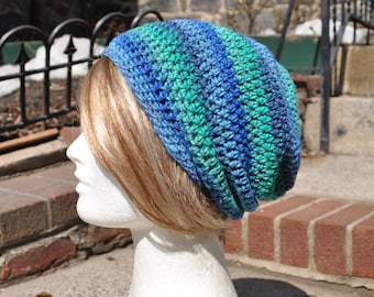 Slouchy Beanie Crocheted Hat - Multicolored Skullcap - Unisex Hat, Man's Hat - Blue and Green Slouch hat - Woman's Accessories