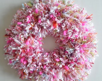 Pink Multi-colored Yarn - Wall Hanging - Wreath for Girl's Room - Baby Shower Gift