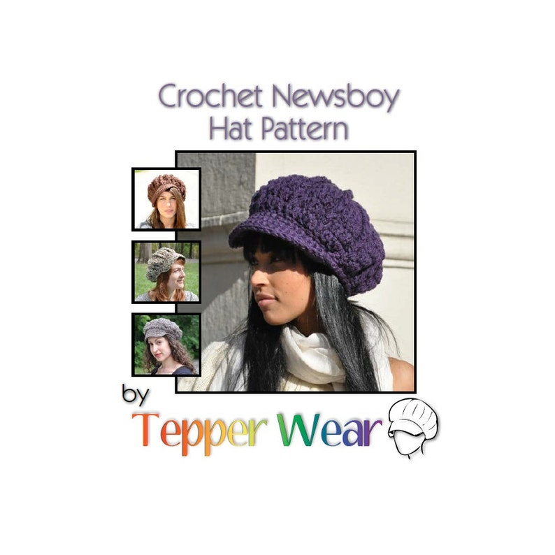 Pattern for Crochet Newsboy Hat  Teen or Adult Hat with Brim image 0