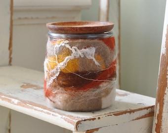 Wet Felted Glass Yogurt Jar with Cork Stopper or Wood Lid- Repurposed, Upcycled, Merino Wool and Glass Jar - OOAK stash jar or planter