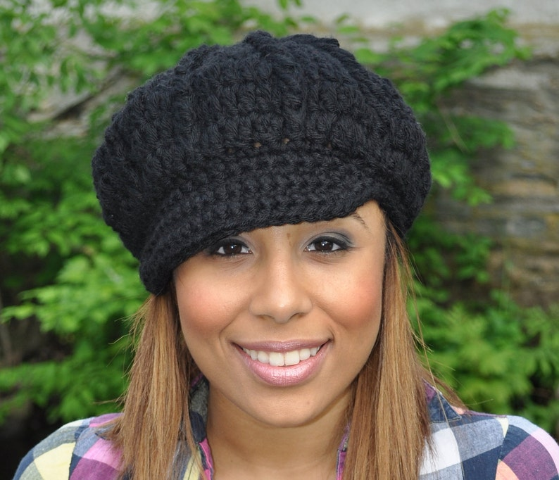 Black Newsboy Hat Crochet Hat with Brim Black Hat Winter  ea87eb0aa