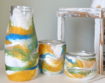 Set of 3 Glass Jars Wet Felted with Wool and Silk - Blue Gold and Green - Upcycled
