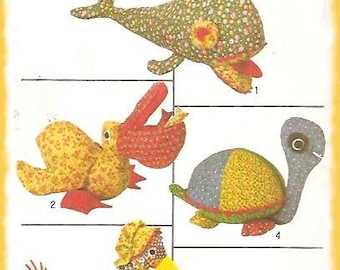 Simplicity 8779 Vintage Stuffed Toys Whale Pelican Goose Turtle Pattern